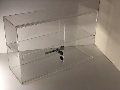 Jewelry Acrylic Display Showcase 21 14x7 12x13 14h Sliding Door 2 Shelves