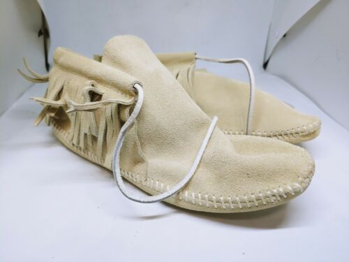 White Leather Moccasins Native HAND MADE Size 7
