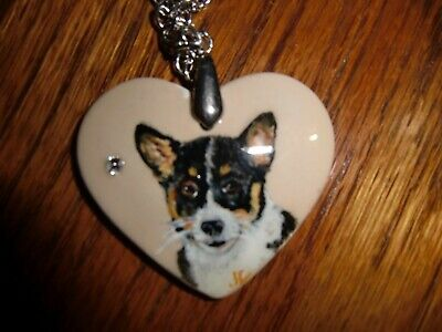 Pembroke Corgi Welsh Dog Porcelain Heart necklace w saworski crystal handpainte