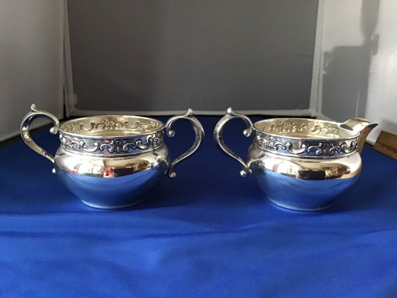 Gorham Strasbourg Sterling Silver Sugar Bowl 1122 Creamer Cream Pitcher 1133 Set