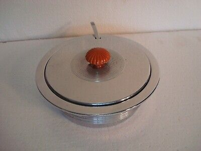 Art Deco Chase Chrome Butter Dish Bakelite with Marked Chase Fork #17067