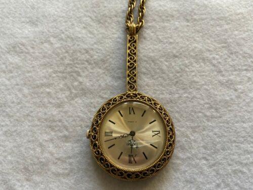 17 Jewels Trifari Mechanical Wind Up Vintage Pendant Watch