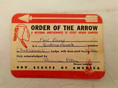 1962 Boy Scout Order Of The Arrow CARD ONLY