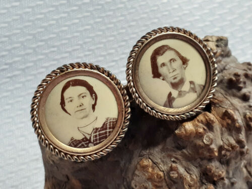 Victorian Era Gold Filled Unique Photo Pin Brooch Oddity With Original Photos