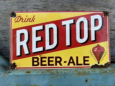 Vintage Red Top Beer Porcelain Bar Ale Lager Brewery Breweriana Gas Oil Sign