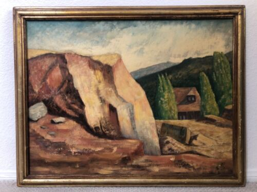 🔥 Antique California Plein Air Modern Impressionist Landscape Oil Painting 1939