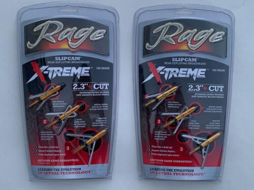 "2pks Rage Slipcam X-treme extreme Mechanical  100 Grain 2.3"" Cut Broadhead"