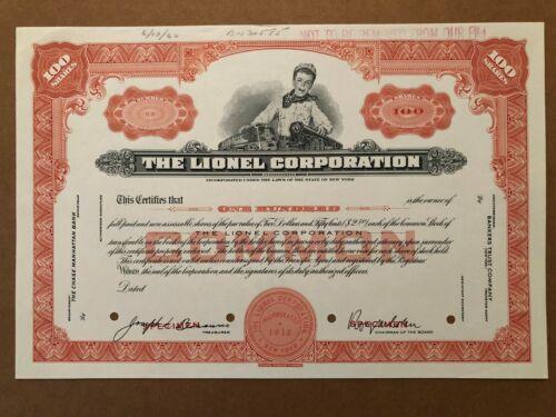 THE LIONEL CORPORATION SPECIMEN STOCK CERTIFICATE 1960 RARE TOY TRAIN ROY COHN