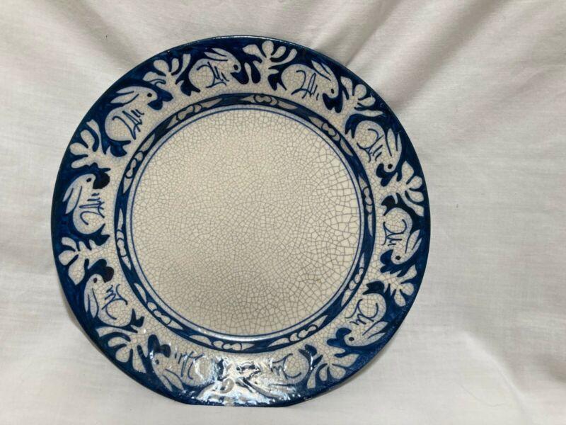 """Antique Dedham Rabbit crackleware plate 8 5/8"""" diameter Impressed rabbit on back"""