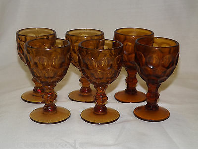 Imperial Glass Ohio PROVINCIAL AMBER 6 Wine Goblets 4 3/8""