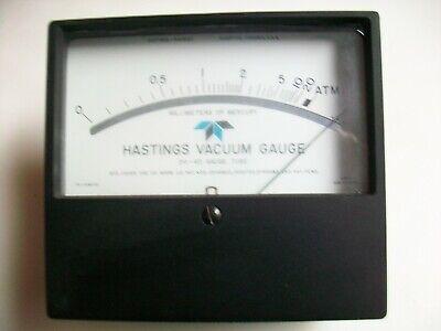 HASTINGS VACUUM GUAGE METER.  0-20 MM OF MERCURY.   FS=10Mv., used for sale  Natchez