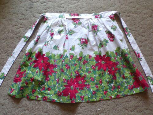 Vintage Christmas Poinsettia Apron 1 pocket