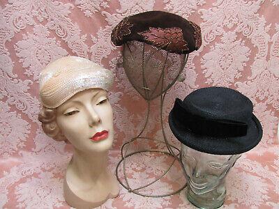 LOT-3) Vtg 1950s HATS *WALTER FLORELL New York (Met Museum of Art) BEADED (Rockabilly Museum)