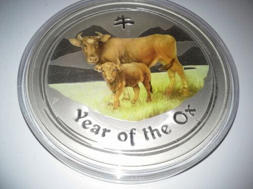 2009 Australia LUNAR YEAR OX COLORIZED 10 oz 999 fine SILVER Colored