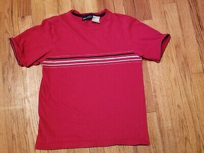 Boys Red Gray Black White Striped T-Shirt Size