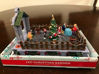 "NEW LED Christmas Village Garden Musical and Spinning Tree - 6""H x 9""W x 6""D"
