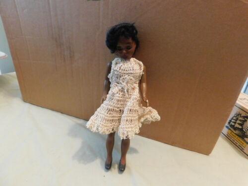 vintage black African American doll in Crochet Dress