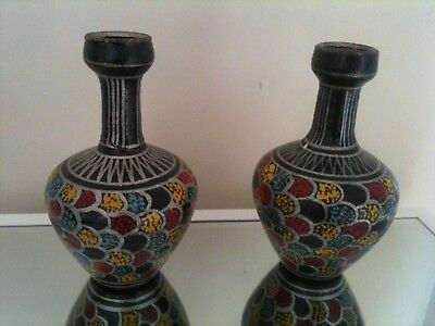 2 X VASES VINTAGE MID CENTURY MODERN 50s 60s CYPRES PORTUGAL HAND PAINTED MADE .