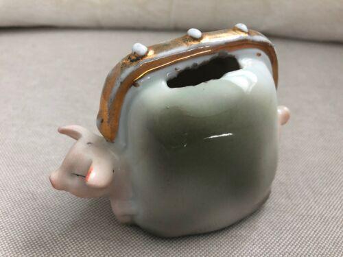Vintage PINK PIG Suitcase Purse Handbag Coin Bank Germany Porcelain