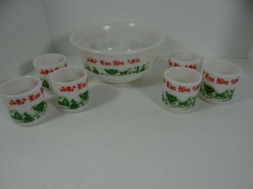 Vintage Hazel Atlas Egg Nog Set Bowl 6 Cups Milk Glass