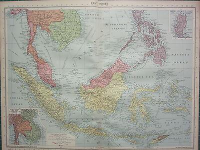 1940 MAP ~ EAST INDIES ~ PHILIPPINE ISLANDS BORNEO JAVA SUMATRA THAILAND