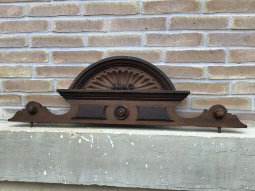 Antique French Victorian Carved Wood Architectural wall Door  Pediment