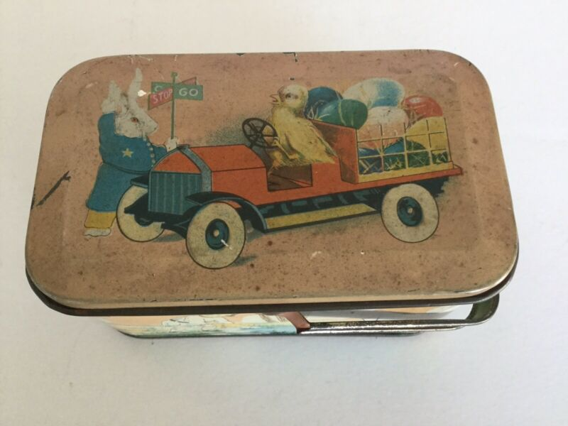 Vintage Tin Litho Peter Rabbit And Family With Handle By Tindeco
