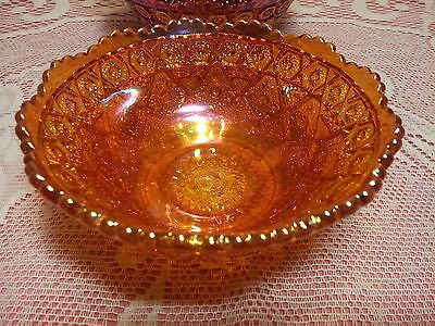 CARNIVAL GLASS IMPERIAL DIAMOND LACE Marigold Ice Cream, Berry, Sauce Bowl 4 5/8