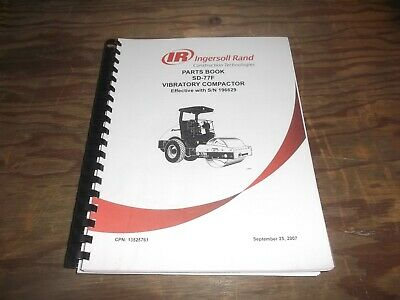 Ingersoll Rand Sd-77f Smooth Drum Roller Vibratory Compactor Part Catalog Manual