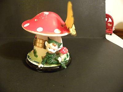 Vintage Pixie Elf Under A Mushroom Bank Japan