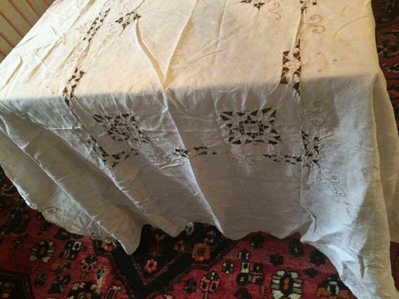 Vintage Linen Tablecloths Cutwork, Crocheted, Banquet Size-Set Of 2