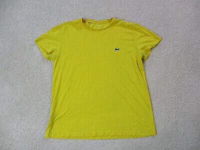 Lacoste Shirt Adult Small Size 4 Yellow Green Crocodile Logo Cotton Mens *