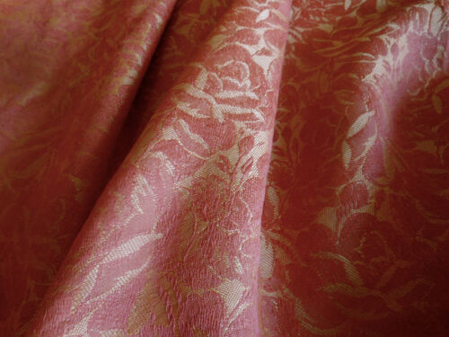 Vintage Retro Shabby French Roses Floral Jacquard Fabric ~ Burnt Rose Gold
