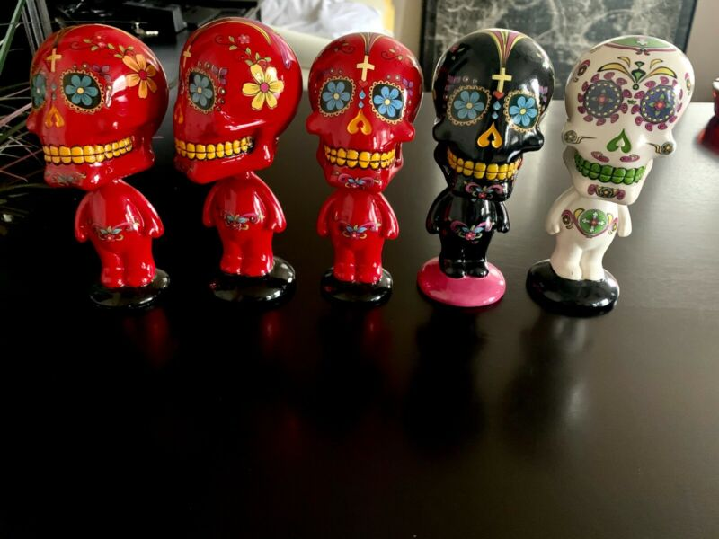 Day Of The Dead Bobbleheads - 3 Red,1 Black and 1 White
