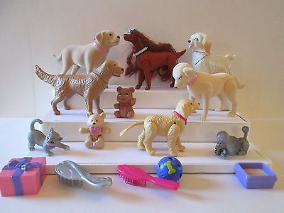 15 Piece lot Barbie & other Pets Animals accessories 7 dogs 1 cat 2 bears