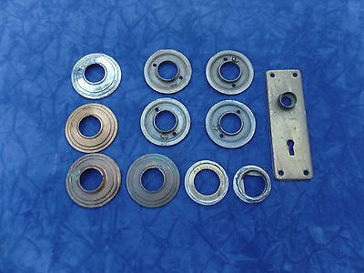 VINTAGE BRASS BACK PLATES ESCUTCHEONS RINGS SET OF 11 RE-USE RE-PURPOSE