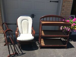 3 Piece Set, Rocking Chair, Blanket Holder, and Change Table.