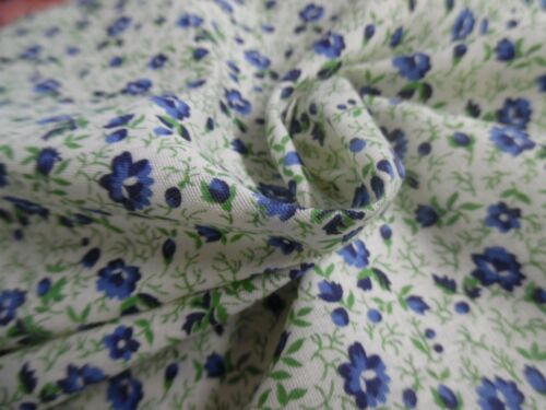 """COTTON TWILL~SMALL ALLOVER FLORAL PRINT~BLUE/GREEN ON WHITE~18""""x45""""~DOLL FABRIC"""