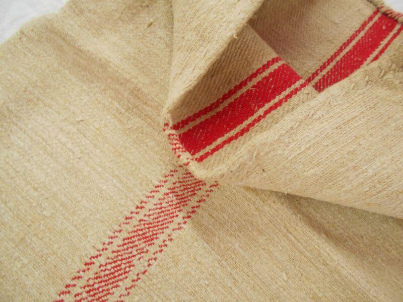 Vtg Antique RED STRIPE European HEMP LINEN Rustic Nubby FEEDSACK GRAIN BAG 50X18