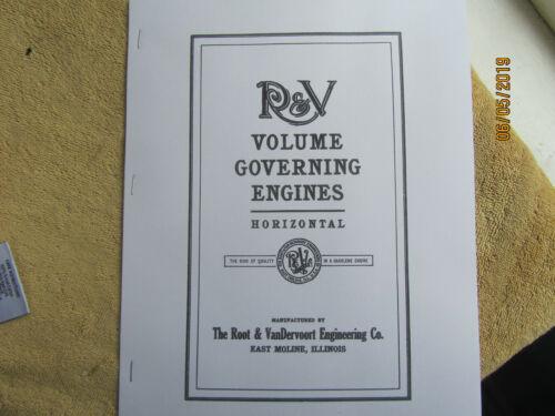 Root & Vandervoort 4-28HP Gas Engine Information Manual