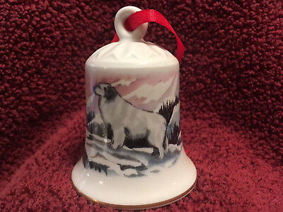Porcelain Winter Design Bell with Dog - Great (Great Pyrenees Porcelain)