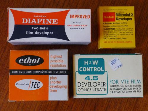 Film developers: Microdol X; H& W Control; ethol thin emulsion