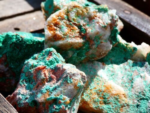 MALACHITE ON QUARTZ Specimen Pieces - 1 Lb Lots - Quality Material- Great Color