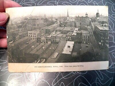 VINTAGE POSTCARD RPPC 192 CHATTANOOGA TENN 1908 VIEW FROM JAMES BUILDING