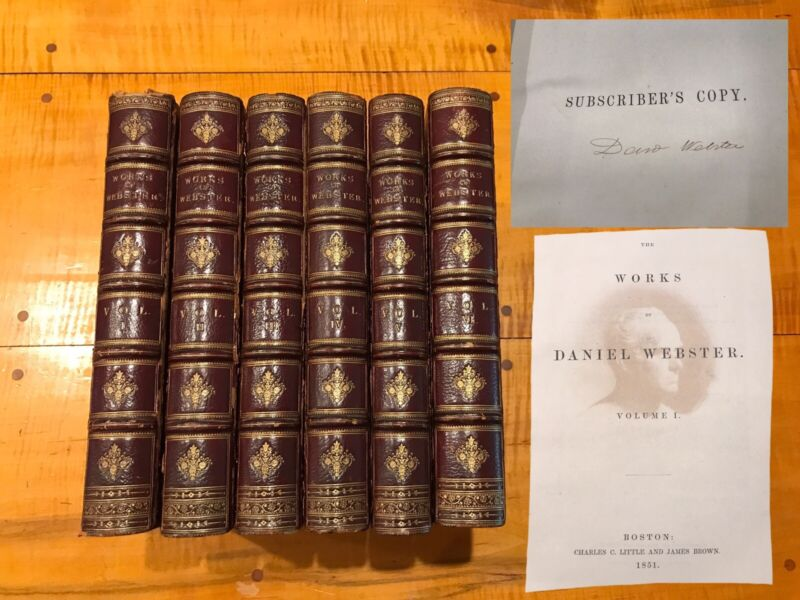 The Works of Daniel Webster SIGNED 1st Edition 1851 6 VOLUMES 3/4 LEATHER BOUND