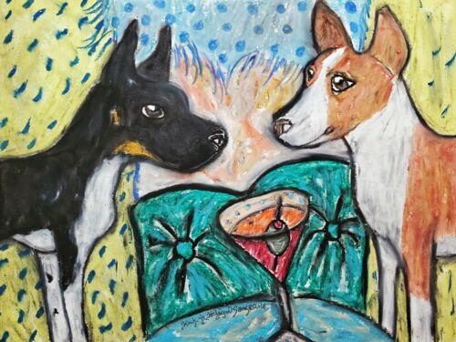 Rat Terrier Collectible 4x6 Dog Pop Art Print Signed by Artist KSams Martini