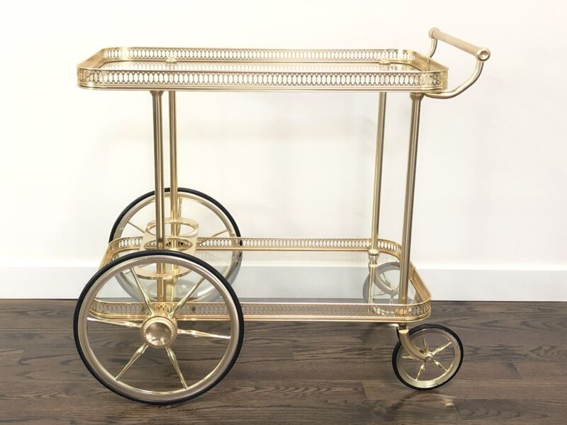 Mid Century Modern Brass & Glass Bar Cart