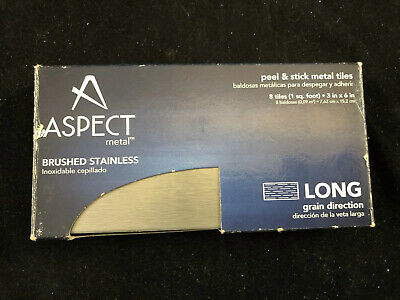 Aspect A52-50, Peel And Stick Backsplash Long Grain Metal Tile 8 Tiles In