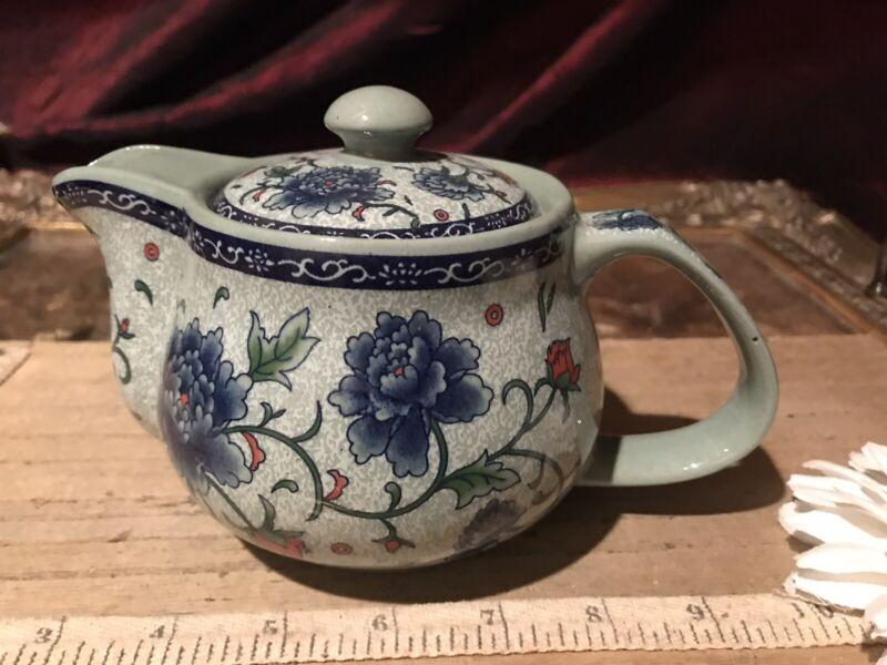 "Asian Porcelain Blue & Grey Floral w/Vine Design Teapot 6 1/2""x4 1/2"" Marked"