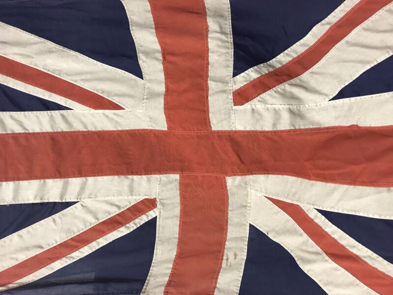 Vintage Union Jack UK Flag British England Cotton Canvas Stitched 3'x 6'
